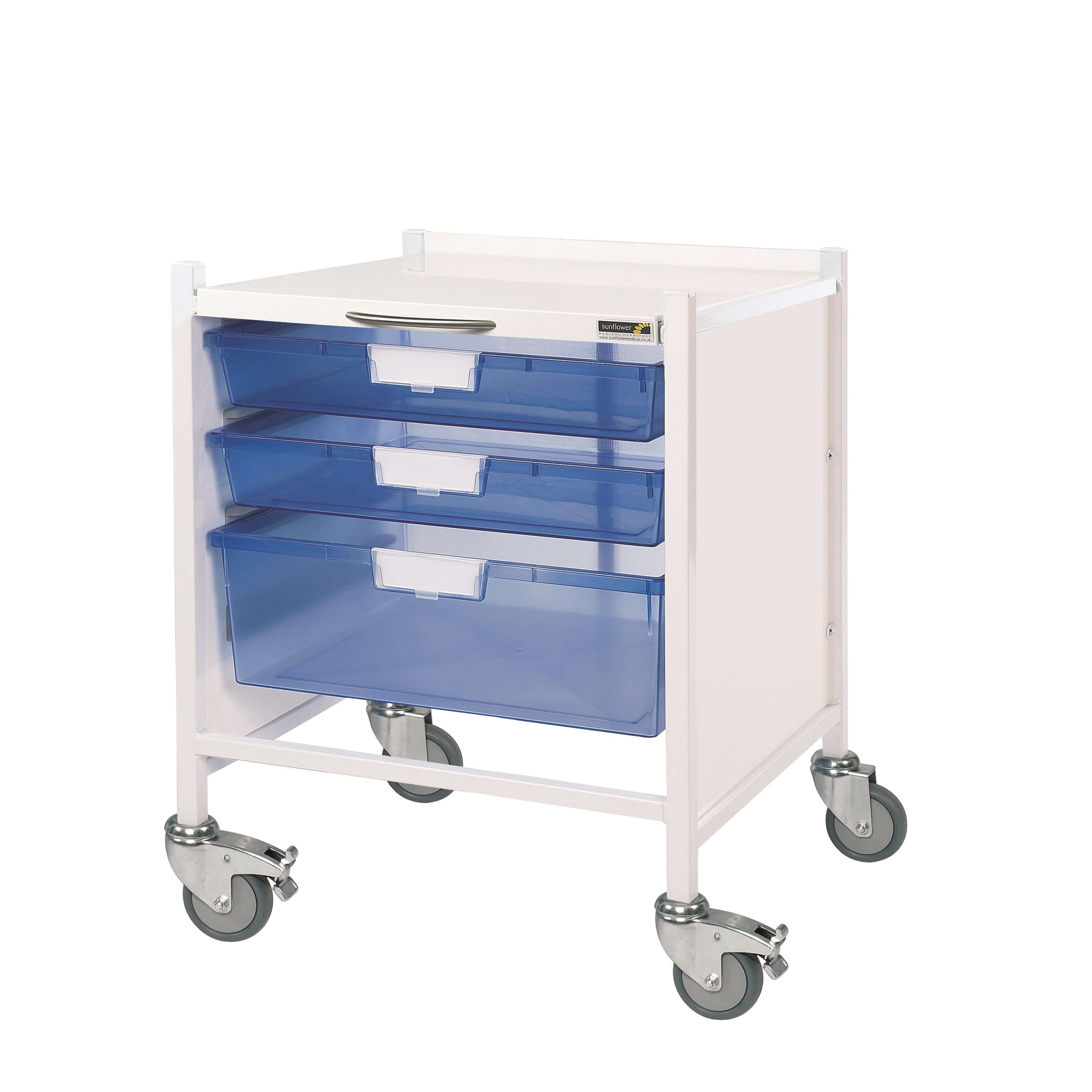 Vista 15 Trolley - Two Single/One Double Blue Tray