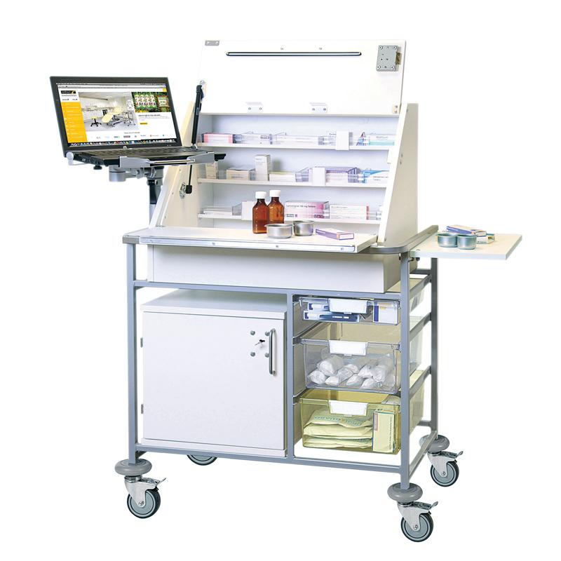 Ward Drug & Medicine Dispensing Trolley (keyed alike) with Adjustable Laptop Mount